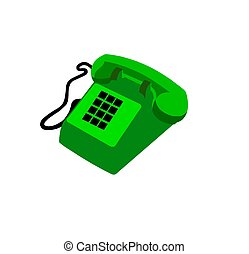 téléphone, vert, isolé