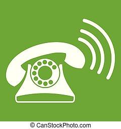 téléphone, vert, retro, icône