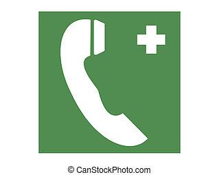 téléphone, vert, urgence