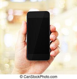 téléphone, vide, main