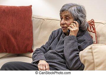 téléphone, vieux, conversation, soi, femme, personnes agées, isoler, quoique
