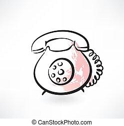 téléphone, vieux, grunge, icône