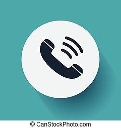 téléphone, vieux, icône