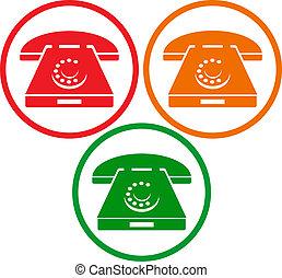 téléphone, vieux, icônes