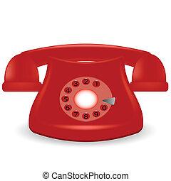 téléphone, vieux, rouges
