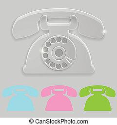 téléphone, vieux, transparent, icône