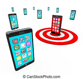 téléphone, visé, icônes, apps, application, intelligent