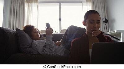 téléphone, vivant, couple, ordinateur portable, lesbienne, ...
