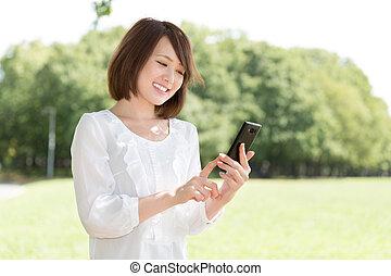 téléphone, voir, femme, intelligent