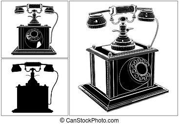 téléphone, white..., retro, isolé