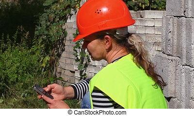 téléphone, woman-builder, cellule