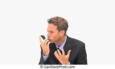 téléphoner, fâché, homme affaires