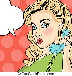 téléphoner femme, art, retro, pop
