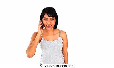 téléphoner femme, asiatique, parler, désinvolte