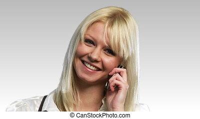 téléphoner femme, bonde, heureux
