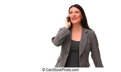 téléphoner femme, brunette, business, conversation