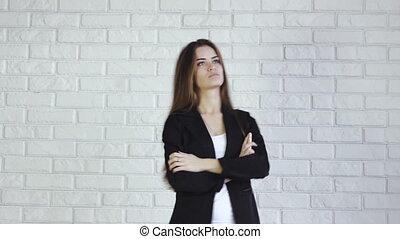 téléphoner femme, bureau affaires, conversation