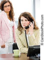 téléphoner femme, business, appeler