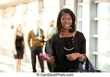 téléphoner femme, business, intelligent