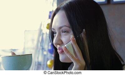 téléphoner femme, café, conversation