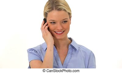 téléphoner femme, conversation, blond
