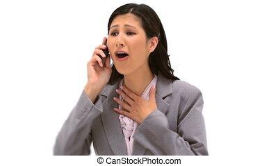 téléphoner femme, conversation, heureux