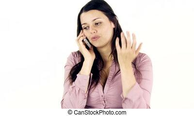 téléphoner femme, heureux