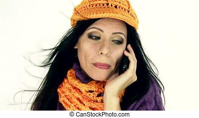 téléphoner femme, isolare, heureux