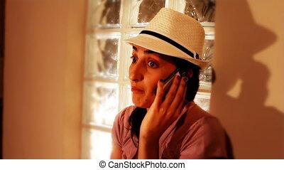 téléphoner femme, jeune, conversation