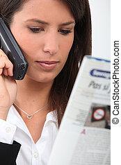 téléphoner femme, lecture