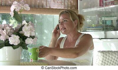 téléphoner femme, mobil, conversation