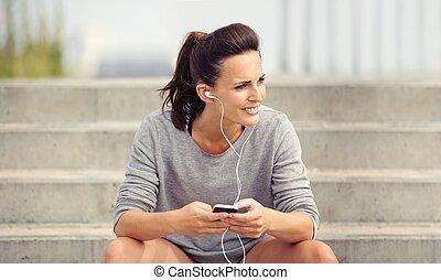 téléphoner femme, musique écouter, elle