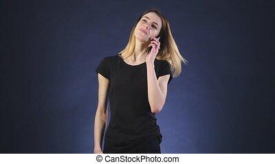 téléphoner femme, parle, heureux
