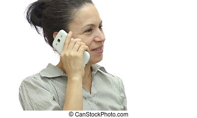 téléphoner femme, s'il vous plaît, isolé, attente