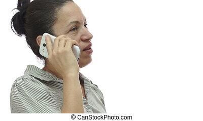 téléphoner femme, venir, fou, ici