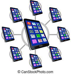 téléphones, apps, réseau, intelligent, communiquer