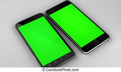 téléphones, chroma, deux, isolé, vert, intelligent