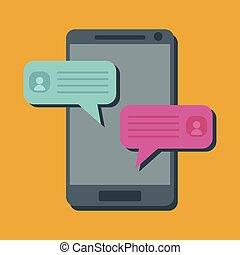 téléphones, communiquer, mobile, gens, smartphones., appareils