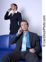 téléphones, couple, jeune