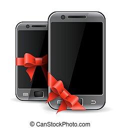 téléphones, deux, mobile