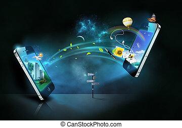 téléphones, intelligent, communication
