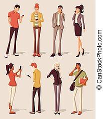 téléphones, intelligent, gens