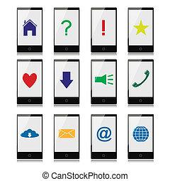 téléphones mobiles, écran, signes