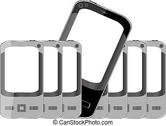 téléphones mobiles, écran, vide, fond