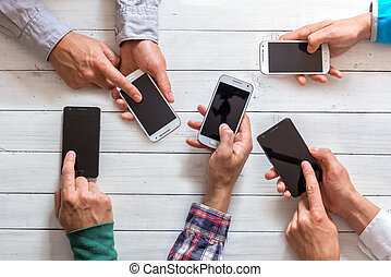 téléphones mobiles, amis, main