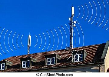 téléphones mobiles, cercles, antennes