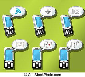 téléphones mobiles, ensemble, icône