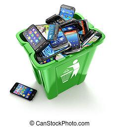 téléphones mobiles, isolé, arrière-plan., boîte, utiliza, blanc, déchets ménagers