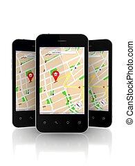téléphones mobiles, navigateur, screen., gps