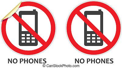 téléphones, non, signe